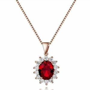 Elegant-Luxus-925-Sterling-Silber-Damen-Halskette-Oval-Rubin-Edelstein-Anhaenger