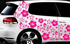 114x Auto Aufkleber Sterne Star Hibiskus Blume z Schmetterlinge HAWAI WANDTATTOO
