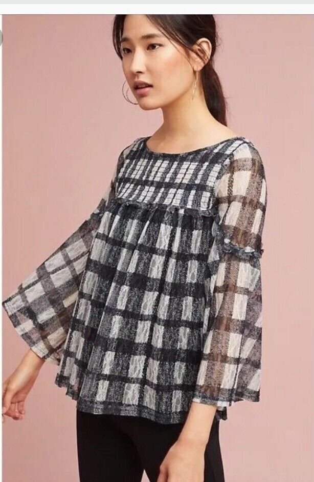 AKEMI KIN Anthro Patrizia Sheer Plaid Blouse Sz Groß