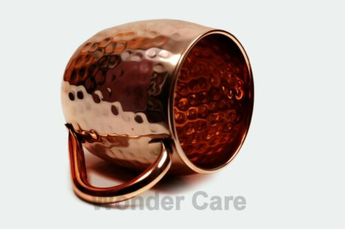 Moscow Mule Copper Mugs with Handles Hammered Classic Drinking Cups 4-Pack