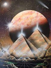 "SPRAY PAINT ART ~Pyramid~ Space Painting(18""x24"") Canvas"