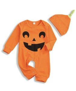 Younger tree Newborn Baby Halloween Jumpsuit Boys Girls, Orange, Size 6-12 Month