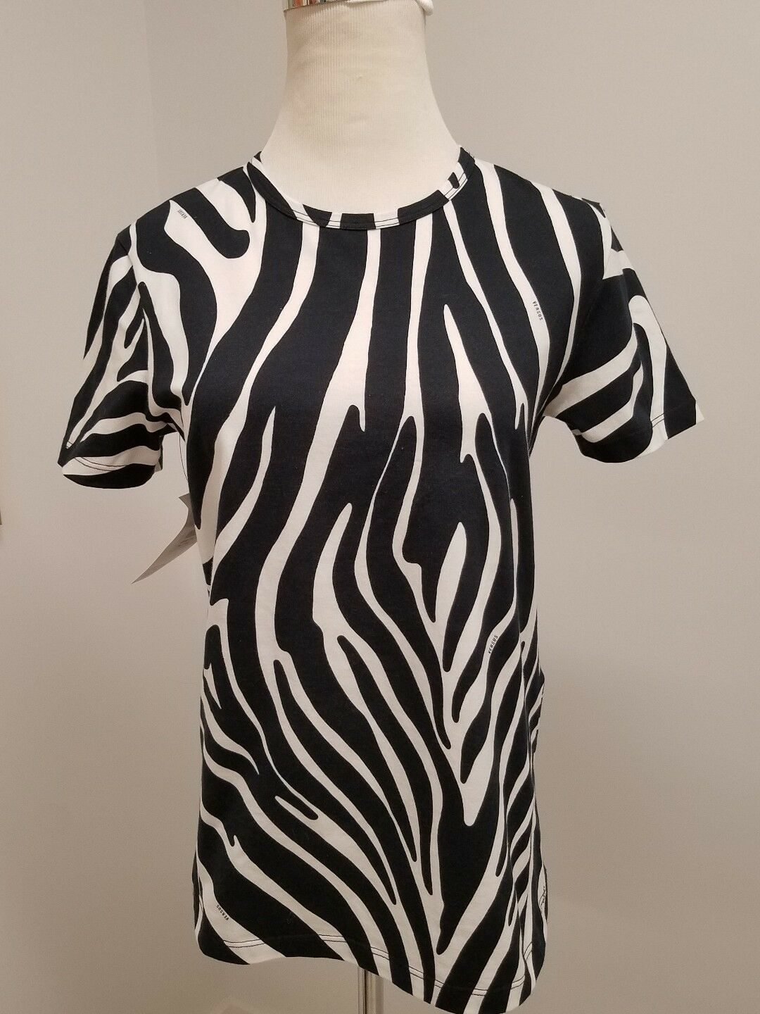 NEW Versus Versace Woherren schwarz Weiß Zebra Stretch  T-Shirt Medium Small Lrg