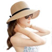 Floppy Foldable Ladies Women Straw Beach Sun Summer Hat Beige Wide Brim SK