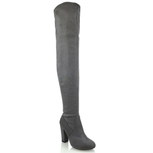 Womens Over The Knee High Boots Ladies Block Heel Sock Fit Thigh High Long Shoes