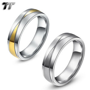 r206 Tt 6mm Two-tone Gold Stainless Steel Wedding Band Ring Size 6-14 New To Be Highly Praised And Appreciated By The Consuming Public