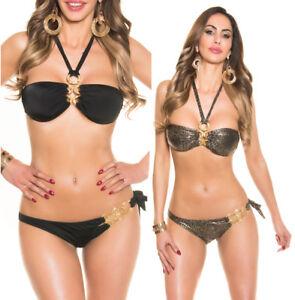 online retailer da180 338af Dettagli su costume da mare donna bikini a fascia costume due pezzi con  strass sexy nuovo