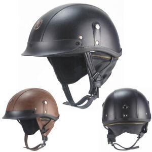 Vintage Leather Motorcycle Half Helmet Skull Cap Scooter Chopper Street M/L/XL