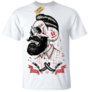 sale retailer 69374 106df Dettagli su Profondo Tagli T-Shirt Uomo Rockabilly Barbiere Negozio Hipster  Barba Shave