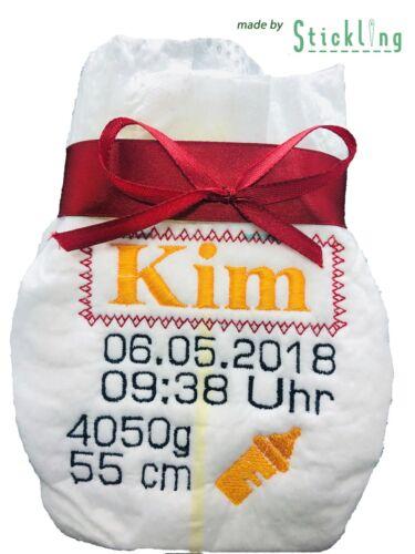 bestickt Name Geschenk Bestickte Babywindel personalisiert Geburt Pampers