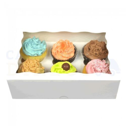 25 x 6 PREMIUM WHITE CUPCAKE BOXES FREE NEXT DAY DELIVERY ORDERED B4 1PM