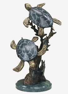 Sea Turtle Duet Brass Sculpture Marble Base Nautical Sealife Statue  ~ 30236 SPI