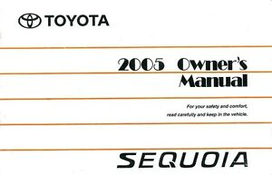 2005 toyota sequoia owners manual user guide reference operator book rh ebay com 2000 Toyota Sequoia 2002 toyota sequoia owners manual pdf