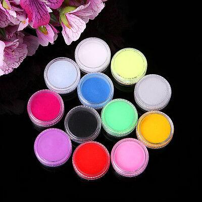 12 Colors Acrylic Nail Art Tips UV Gel Powder Dust 3D Decoration Manicure 1Pc