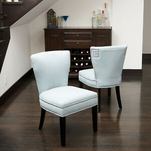 Set Of 2 Elegant Blue Fabric Armless Accent Dining Chairs W Nailhead Accen