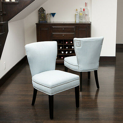 Set of 6 Elegant Blue Fabric Armless Accent / Dining Chairs w/ Nailhead Accents