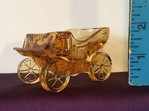 LG-Wright-Clear-Amber-Glass-Horseless-Carriage-Ashtray-Car-W-Striker-On-Bottom