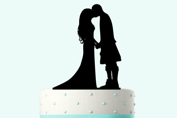 Our stunning silhouette Bride & Groom wearing a kilt  Wedding cake Toppers