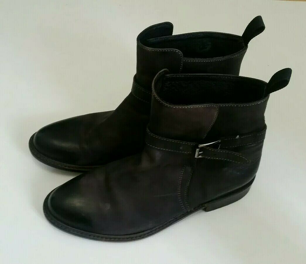 MANNERSACHE Mens ANKLE BOOTS Leather Size 40 6.5 UK Black Grey Made Italy Shoes