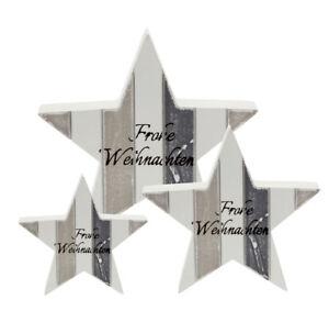 """Stern weiß grau """" Frohe Weihnachten """" 3 Größen aus Holz Vintage Look Dekoration"""