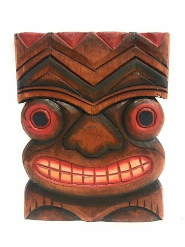 """Wall Plaque Hand Carved#dpt515220b Happiness Tiki Mask 8/""""X6/"""""""