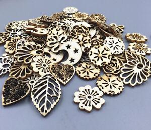 100pcs-Wooden-Pendant-Mixed-Hollow-Wood-color-scrapbooking-decoration-Crafts