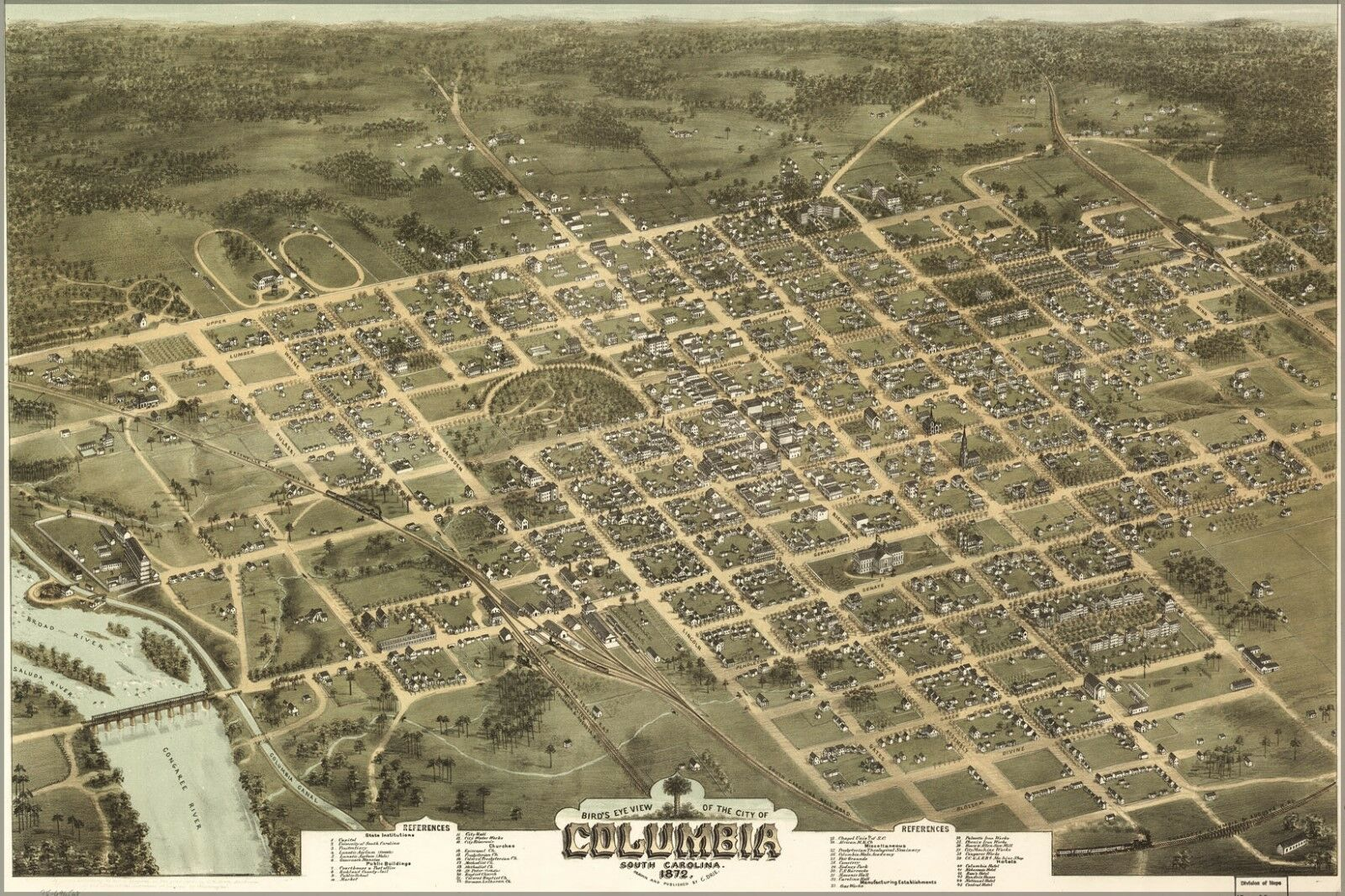Poster, Many Dimensiones; Birdseye View Map Of Columbia, South Carolina 1872