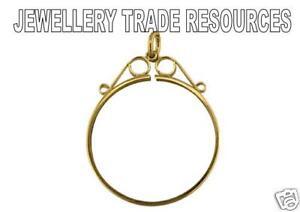 HALF SOVEREIGN DIAMOND CUT FOUR CLAW COIN BEZEL 9ct YELLOW GOLD 1//2