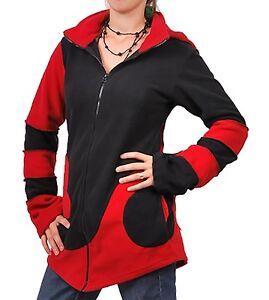 Chaqueta-polar-con-capucha-con-punta-hippie-Fraggle-negro-Rojo