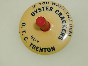 ANTIQUE-DATED-1916-OYSTER-CRACKER-ADVERTISING-SPINNING-TOP-PARISIAN-NOVELTY-CO