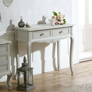 Details about Grey wooden ornate console dressing table shabby french chic  bedroom furniture
