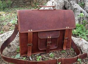 NEU-Schulranzen-Vintage-Braun-Leder-Messenger-Schultertasche-Laptoptasche-Aktentasche