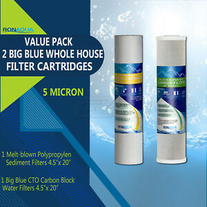 "Big Blue 4.5/"" x 20/"" Sediment Water Filters 4 Whole House Cartridges 5 Micron"