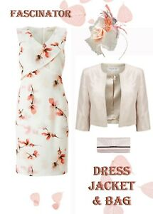 New-22-24-Jacques-Vert-Dress-Jacket-Bag-Fascinator-Cream-Coral-Mother-of-Bride