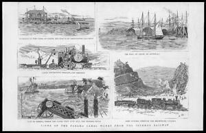 1887-Antique-Print-SOUTH-AMERICA-Panama-Canal-Isthmus-Railway-Colon-Port-40