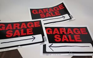 Details About Garage Yard Sale Signs Set Of 3 Plastic From Home Depot Black Red Used See Photo