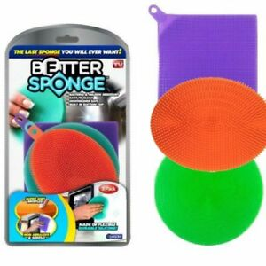 Better Sponge - Set of 3 Colored Textured Silicone Sponges - Mildew-Free, NEW!