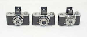 Zeiss-Ikon-Tenax-I-Cameras-Lot-of-Three-Repair-Parts-Display-DECHERT