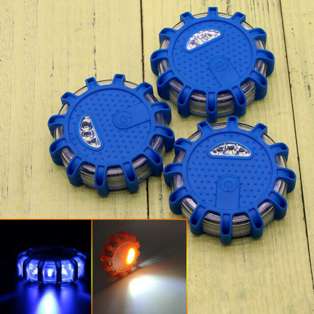 3x 9Mode Emergency LED Beacon Flashing Signal Road Flare Light Car Magnetic Blue