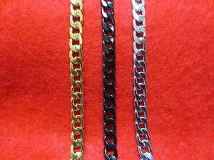 16-034-48-034-Men-Stainless-Steel-Gold-Silver-Black-7mm-Curb-Cuban-Chain-Necklace