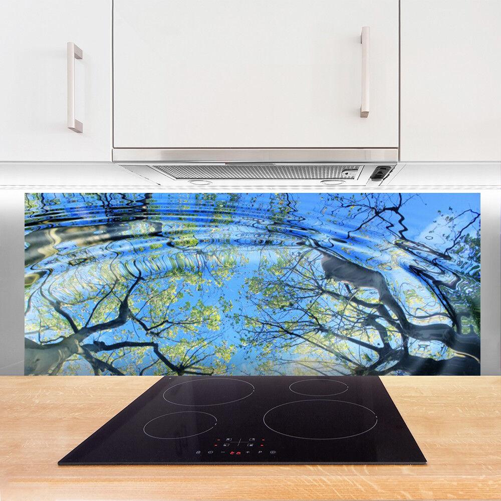 Crédence Crédence Crédence de cuisine en verre Panneau 125x50 Art Eau Arbres 9c19b4