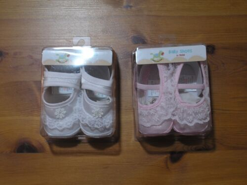 Baby Girl Boy spanish Shoes Christening Party 2 pairs  white pink 0-3 3-6 6-9m