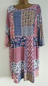 NEW Plus Size 16-32 Floral Mosaic Print Tunic Top Pink Blue White