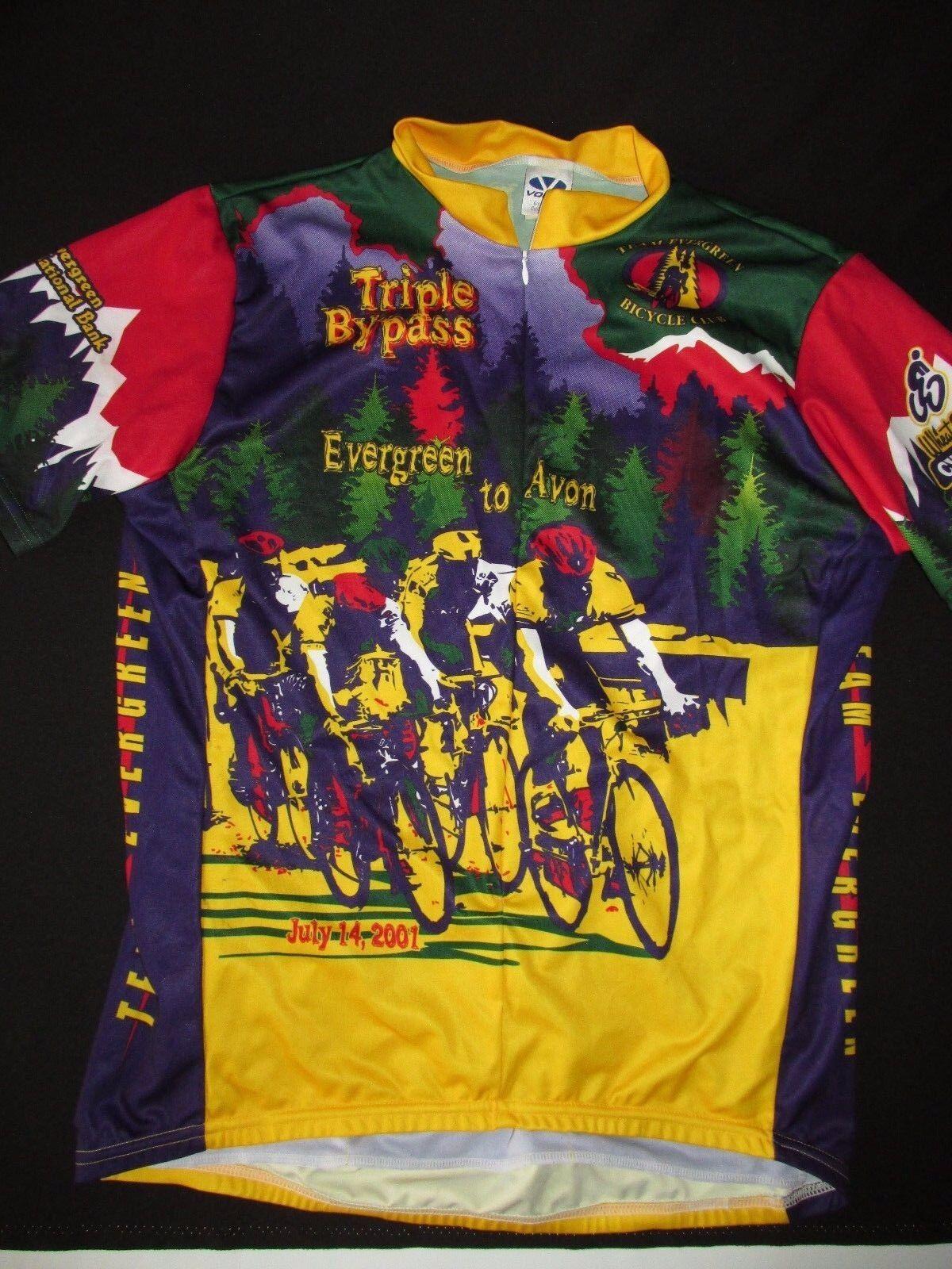 Voler NEW 2001 Tripple Bypass EverGrün to Avon Cycling Jersey Shirt Men XL BK1Z