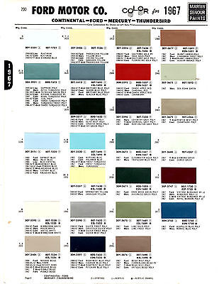 1967 FORD MUSTANG GALAXIE COMET THUNDERBIRD MERCURY COUGAR 67 PAINT CHIPS MS6