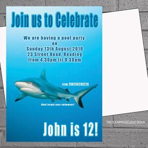 Image Is Loading Shark Birthday Pool Party Invitations Sea Swimming Kids