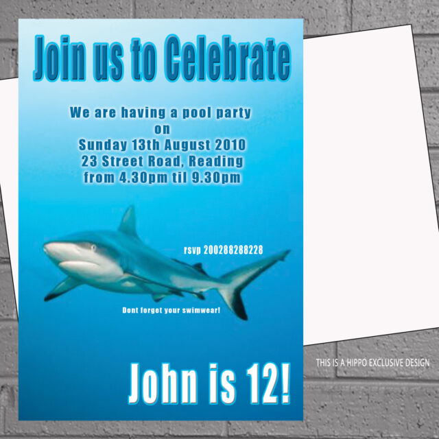 shark birthday pool party invitations sea swimming kids x 12 with