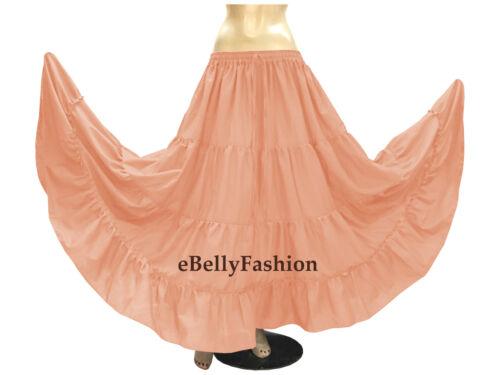 Cotton 4 Tier 6 Yard Skirt Maxi Belly Dance Gypsy Flamenco Tribal Jupe Purple