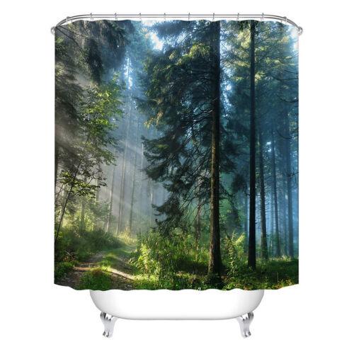 Shower Curtain 3D Forest Printed Landscape Waterproof Bathroom Curtain 180x180cm