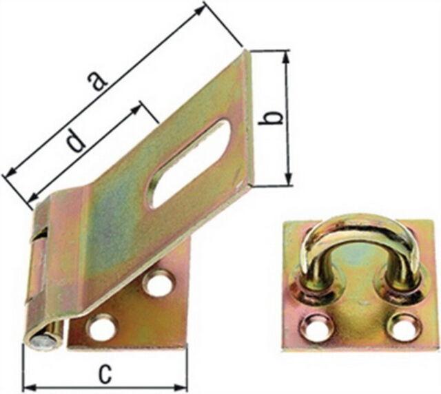 Sicherheits-Überfalle 90x37x35mm Stahl roh galv. gelb verz. GAH